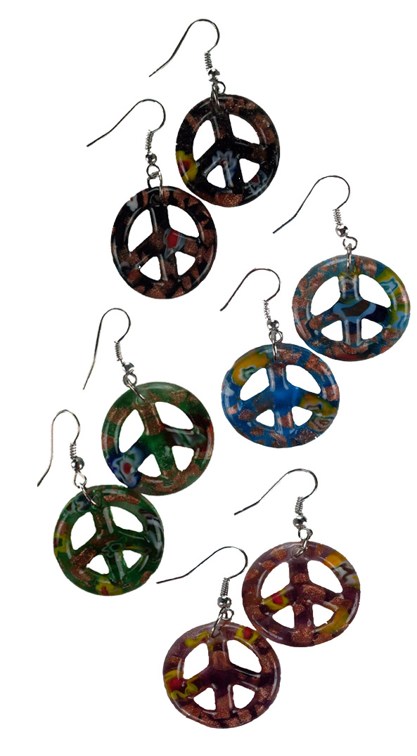 Art Glass Earrings Peace Sign