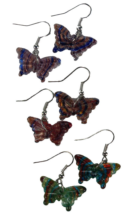 Art Glass Earrings Butterfly