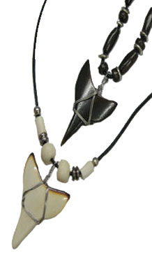 Bone Shark Tooth Necklace #1