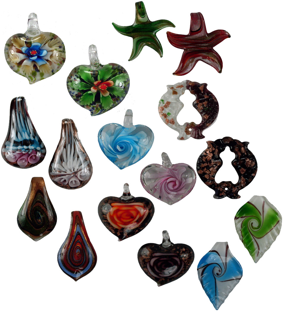 Murano Dichroic Glass Necklace Pendant Assortment