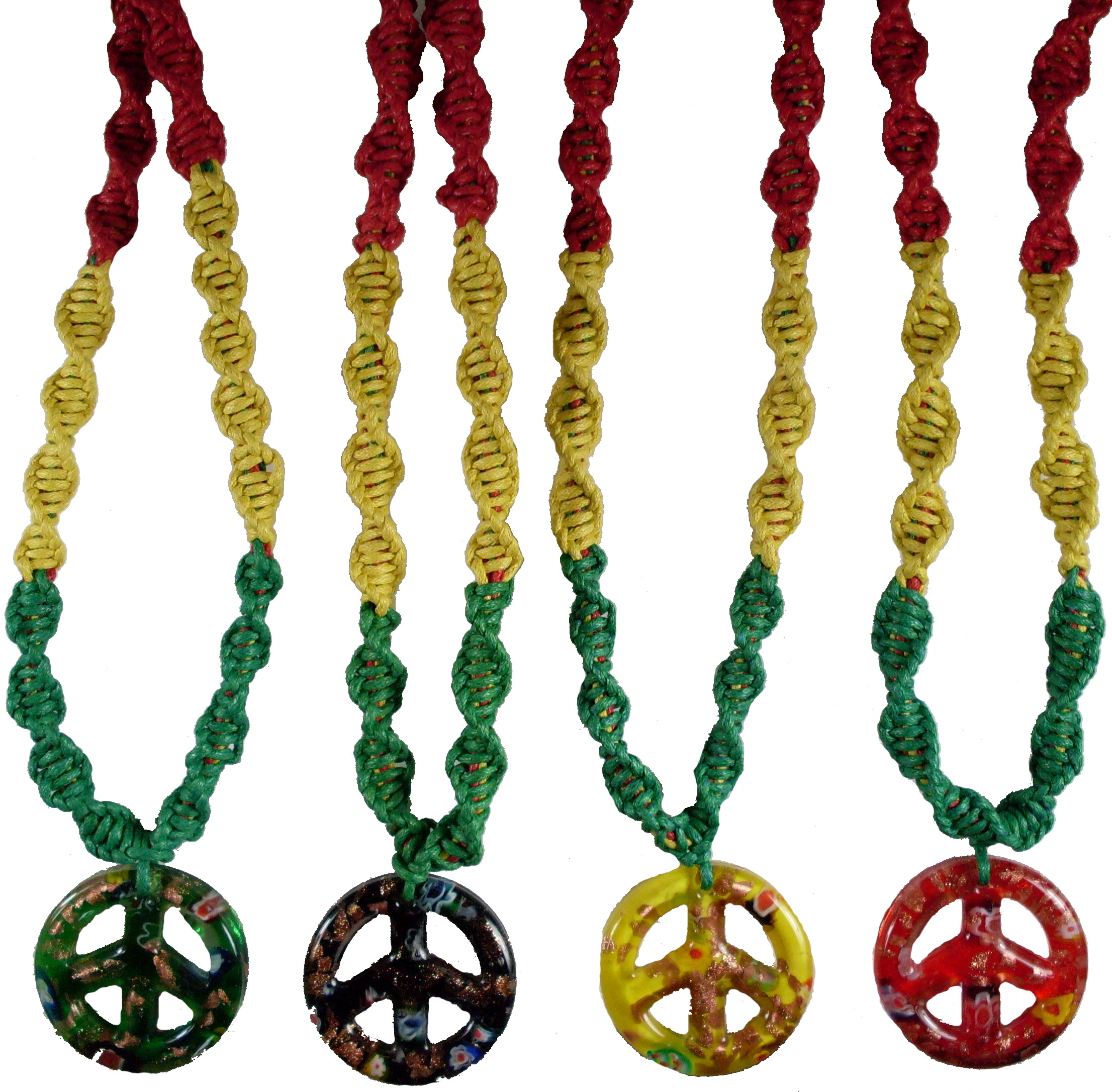 Glass Peace Sign on Rasta Hemp Necklace