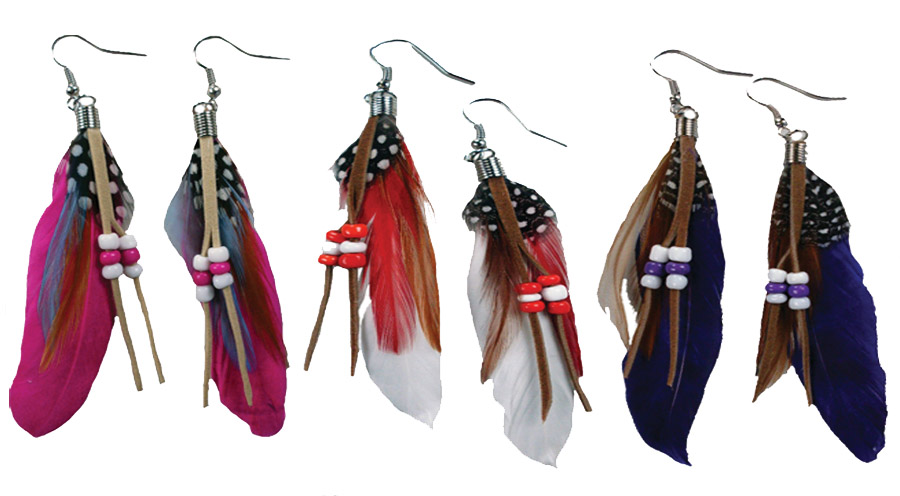 Feather Earrrings with Leather Strips and Beads