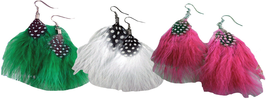 Puffed Feather Earring