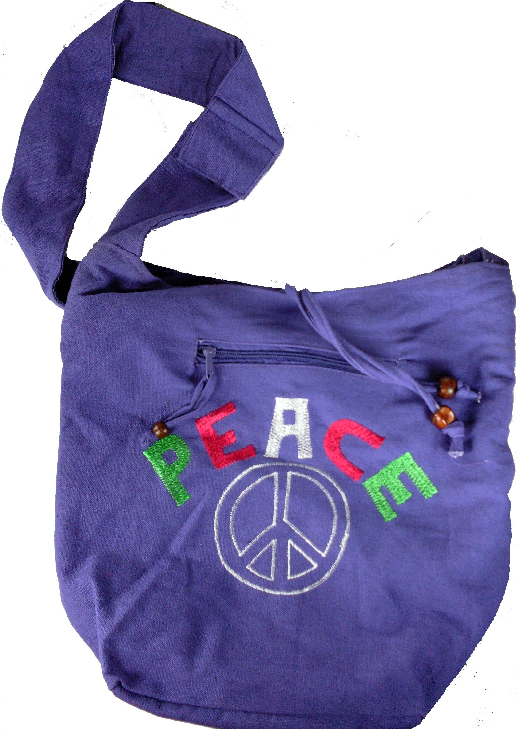 "Embroidered ""Peace"" Hobo Bag"