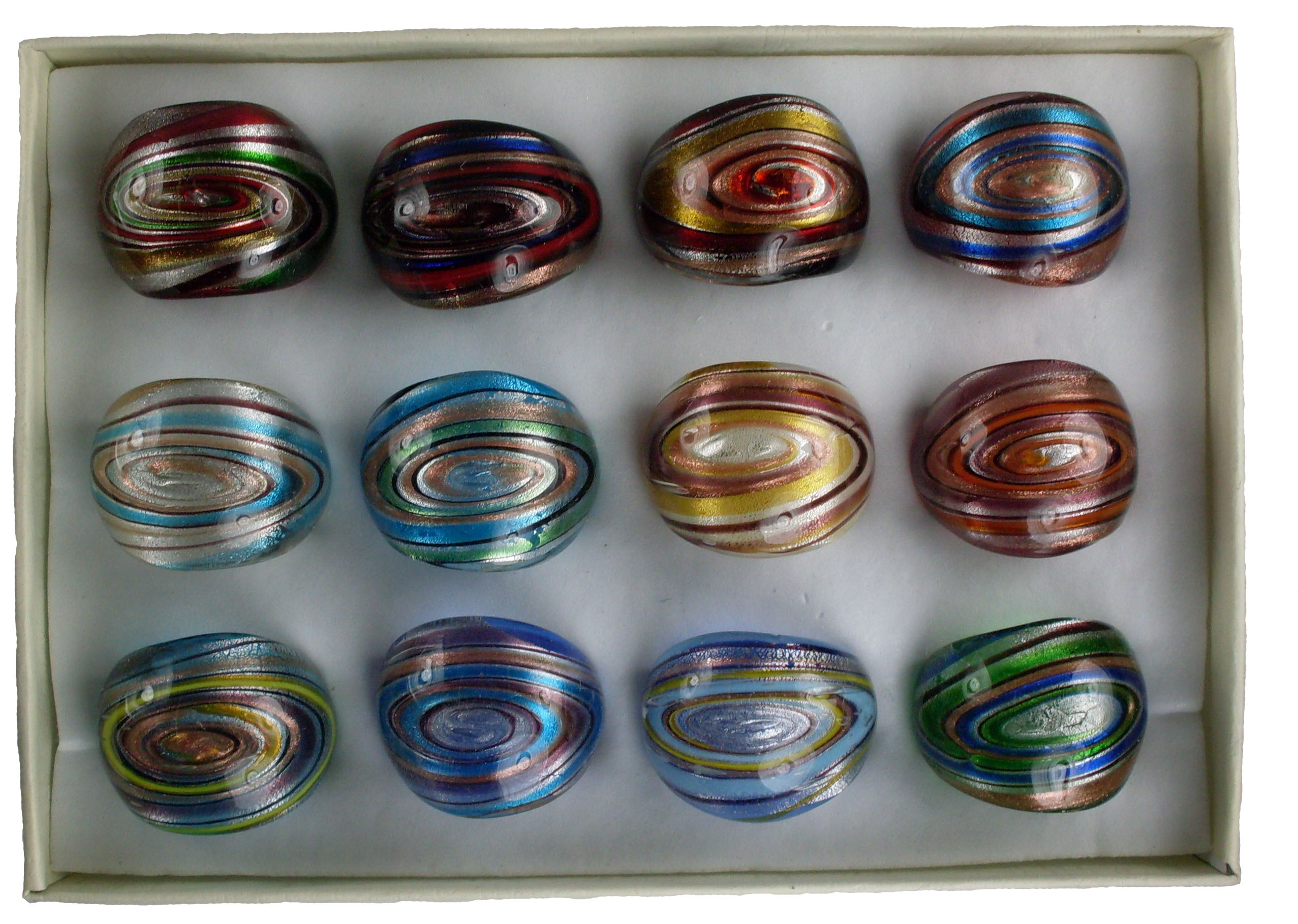 Swirl Design Glass Rings