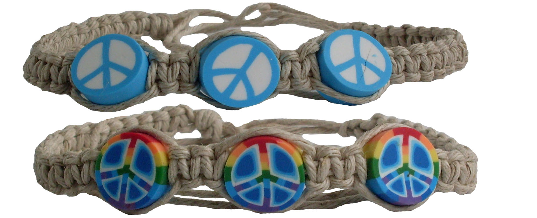 Peace Sign on Macrame Hemp Anklet