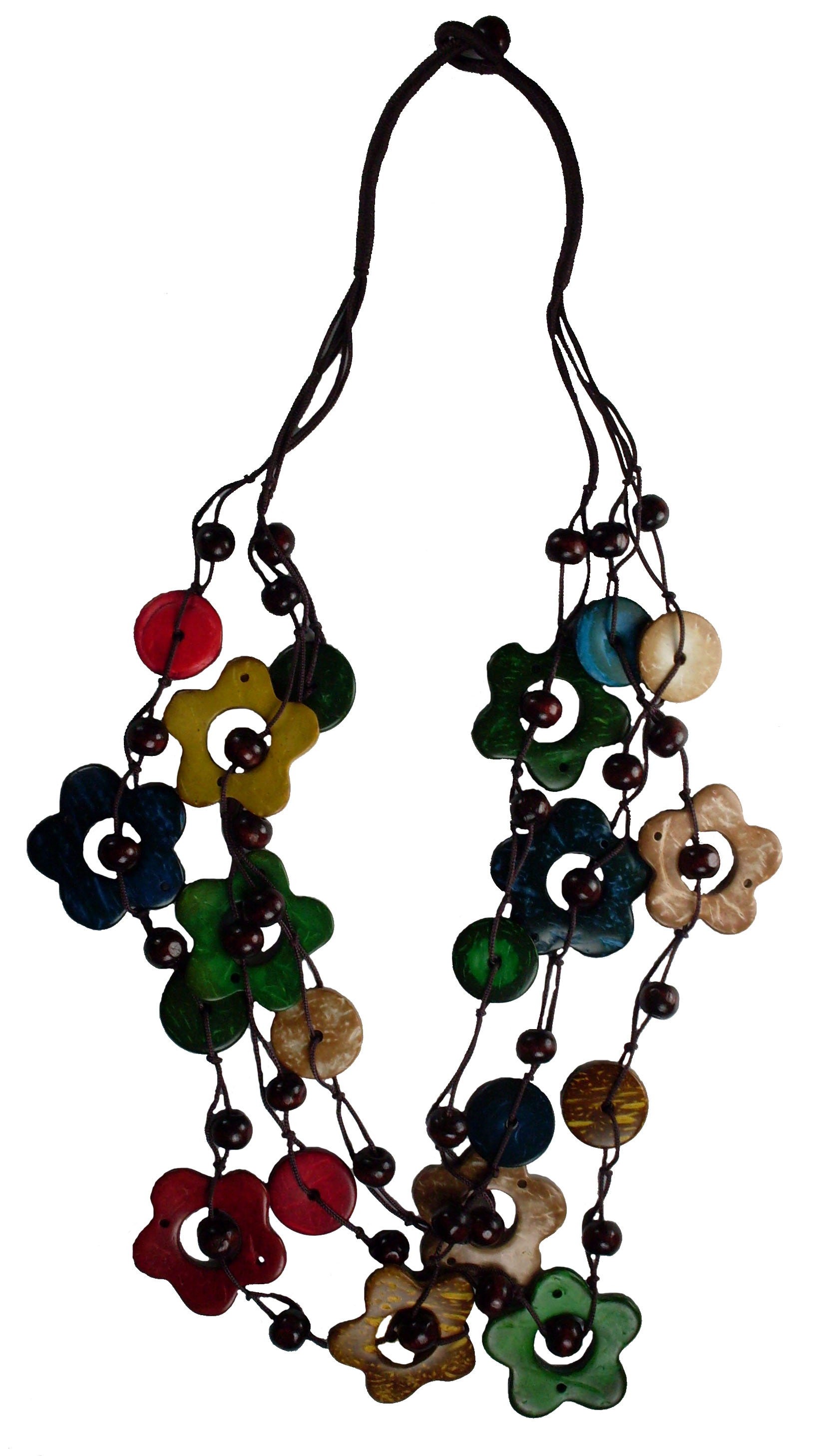 Island Colored Coco Multi Strand Bead Necklace Flower