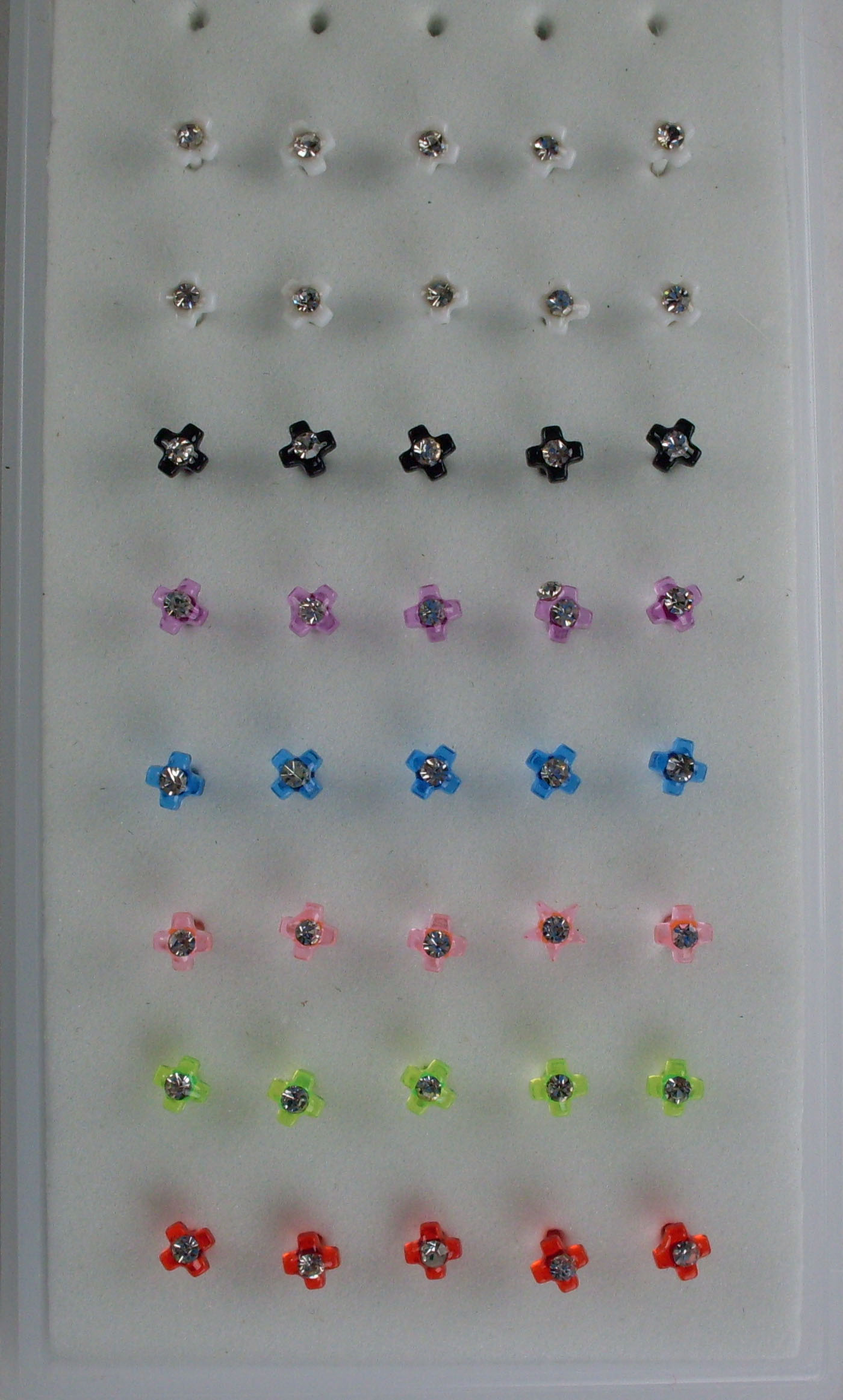 Colored Acrylic Cross Nose Studs
