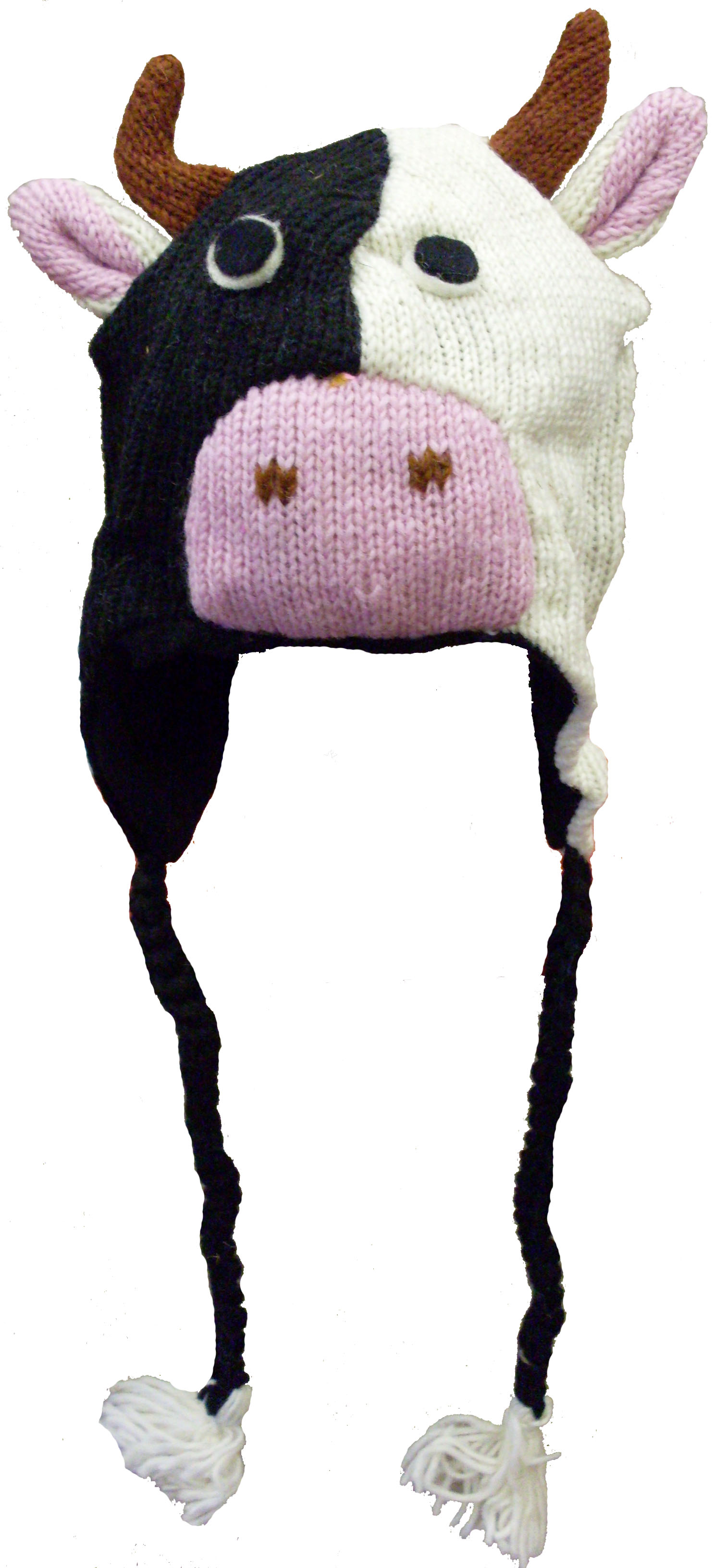 Nepal Wool Lined Animal Hats Cow