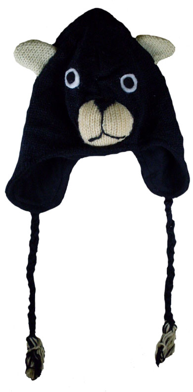 Nepal Wool Lined Animal Hats Bear