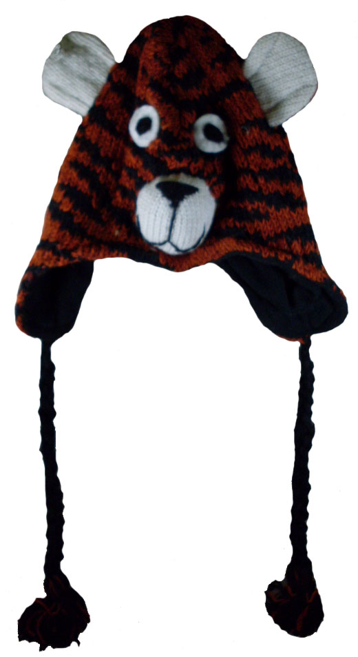 Nepal Wool Lined Animal Hats Tiger