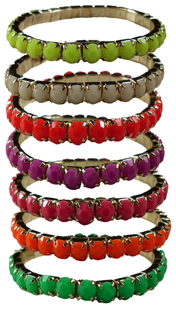 Color Faceted Bead Stretch Bracelets #2