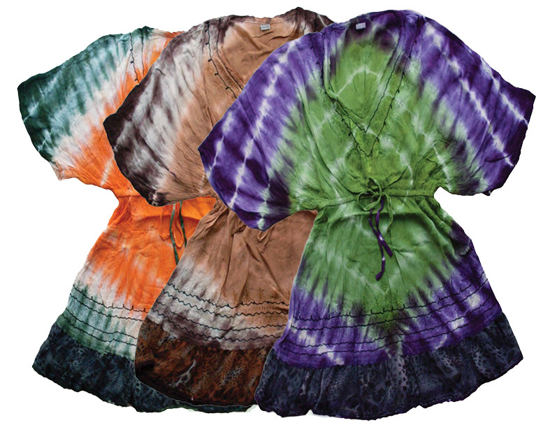 Poncho Style Tie Dye Top with Drawstring