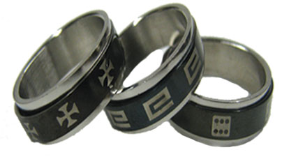 Stainless Steel Black Spinner Ring