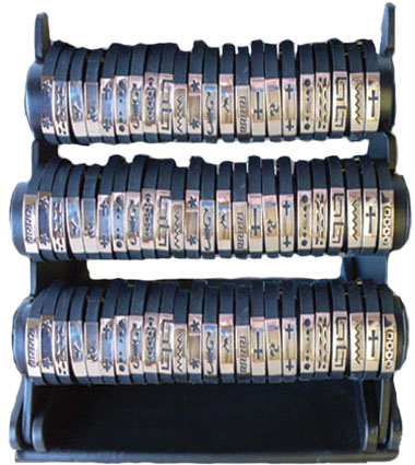 Stainless Steel On Black Rubber Bracelet Pre Pack