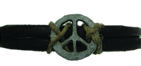 Peace Sign Leather Bracelet #22