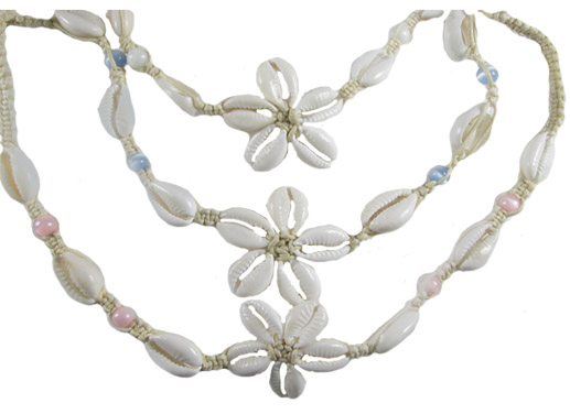 Small White Cowrie Flower with Cats Eye Beads Necklace