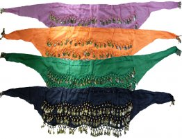 Belly Dancing Coin Scarves 3 Rows of Coins