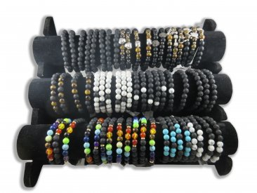 Semi Precious Stone Bead Bracelets with Display